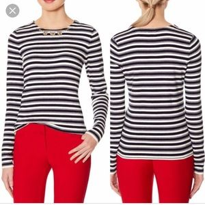 The Limited Striped, Embellishment Sweater